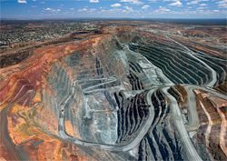 Aerial view of the mine at Kalgoorlie. One of the mine-scapes presented in the When section of the exhibition.