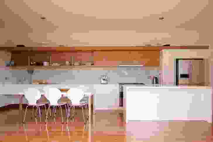 Newenden Residence: The kitchen and dining area.