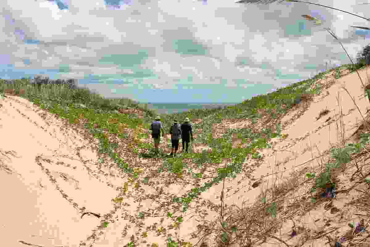Walking through the sand dunes near Broome.