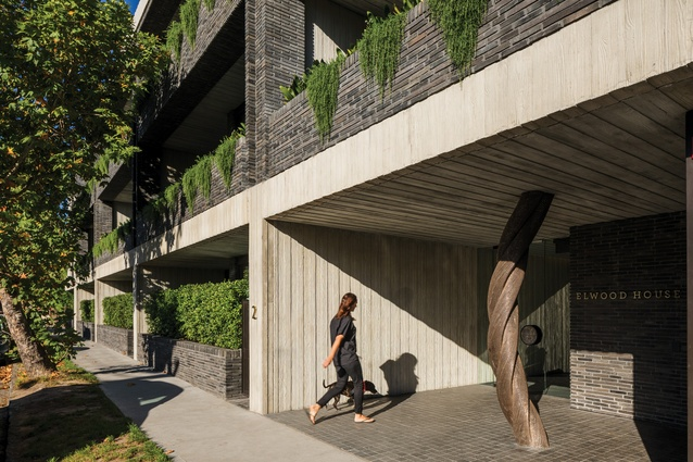 Entry to the apartment block is via a side street, marked by a sculpture by late artist Matthew Harding. Photograph: Trevor Mein.