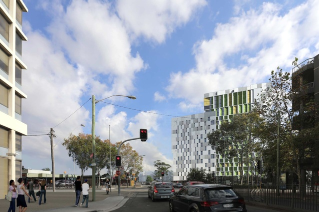 The proposed student housing in the Pemulwuy Project by Turner Architects.