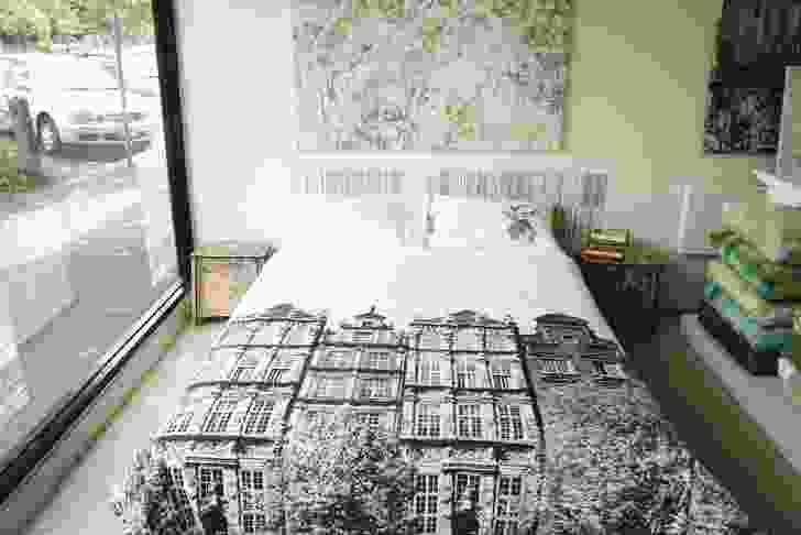 Studio backing cloth artwork seen above Amsterdam bed linen.