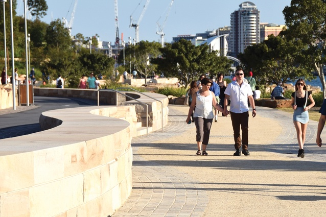 The reserve establishes a fourteen-kilometre stretch of shoreline between ANZAC Bridge and Walsh Bay.