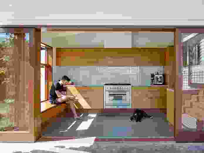 Taking advantage of a fall across the site, the architects built space beneath the house for a third bedroom and a home studio.