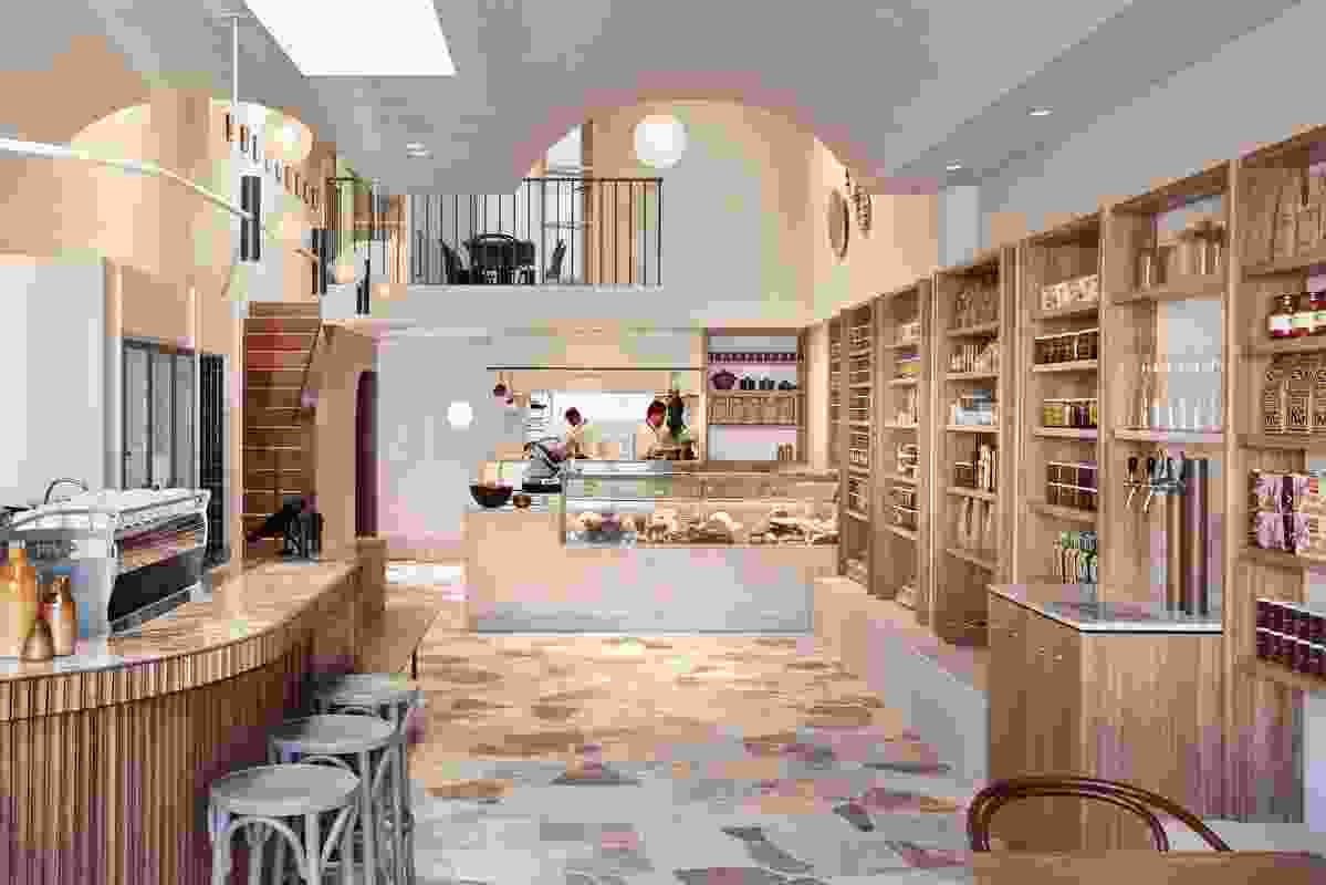 """德利柜台内衬质地石灰石,参考""""意大利小巷""""。"""