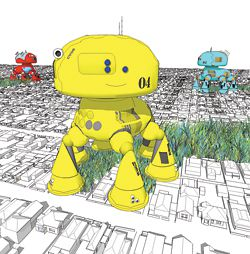 CV08, Andrew Maynard's suburb-eating robot dog, which leaves virgin bushland in its wake.
