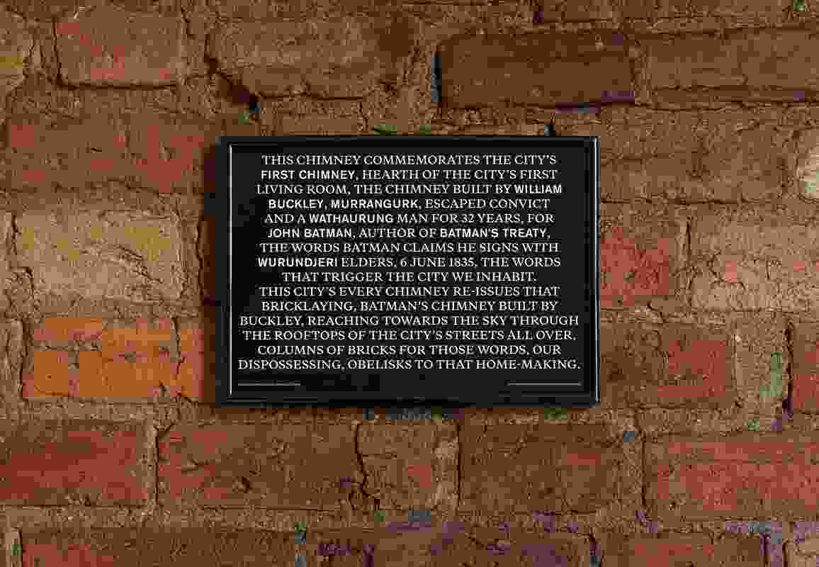 An example of the A4-size offset-printed paper plaques that were handed out as part of Unfinished monument to Batman's Treaty.
