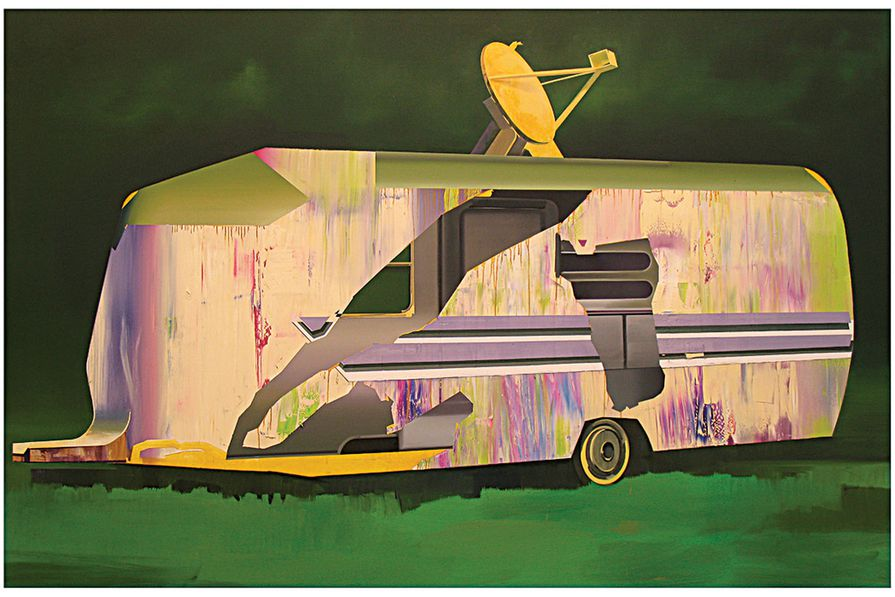 Artist David Ralph's painting After the Rain (2009) presents the idea of a home not as a fixed building, but rather as a travelling entity.