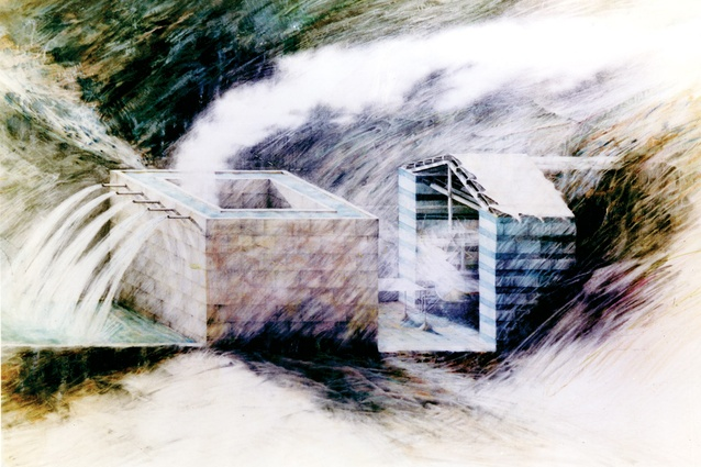 Water House, 1976. Image shows stream becoming a canal.