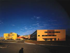 The eastern end of the ward building, on the left, and the hydrotherapy building, on the right. The hydrotherapy building mimics its larger neighbour in a cruder form.