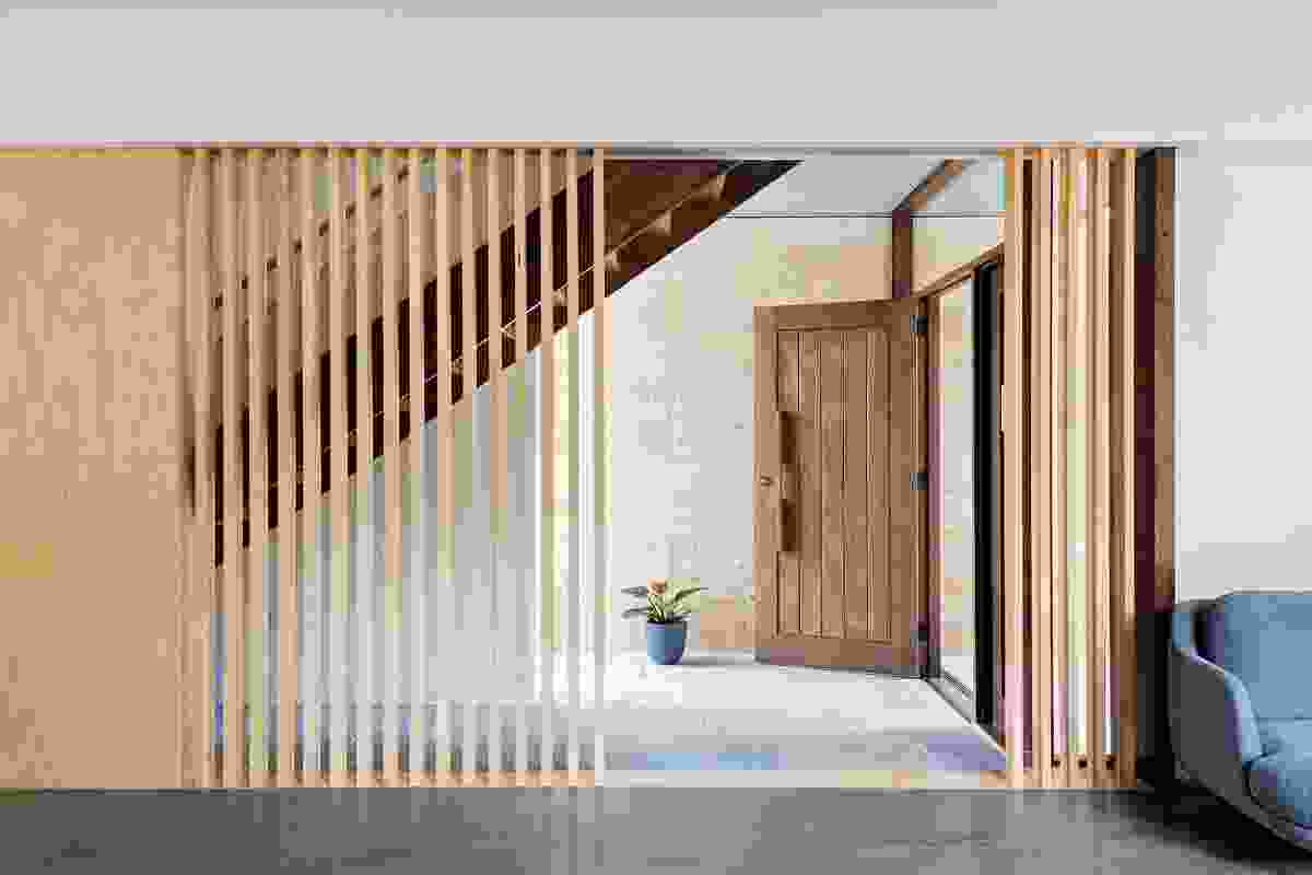 Calais Road House (2017) uses timber battens for privacy and sun control, a device seen in earlier projects.