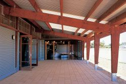 Verandahs on the north wing accommodate public gatherings.