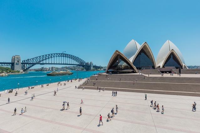 Sydney Opera House designed by Jørn Utzon, 1973.