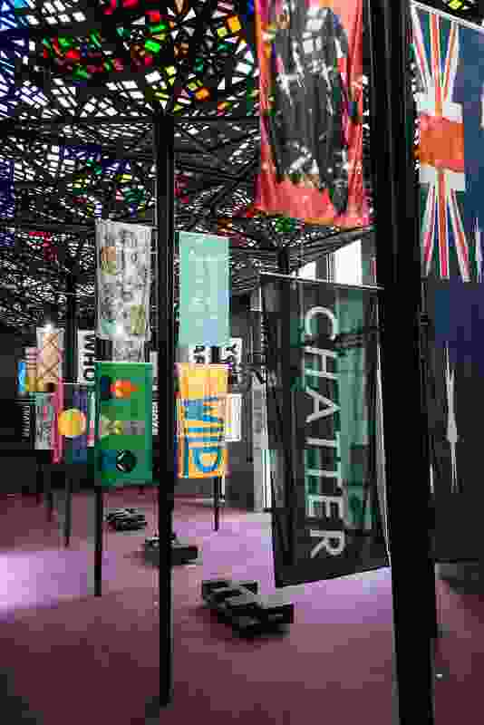 Spacecraft, On top of the world: Flags for Melbourne, 2013, mono filament polyester, silk, metallic foil, digital & screen prints, reverse applique, fringing.