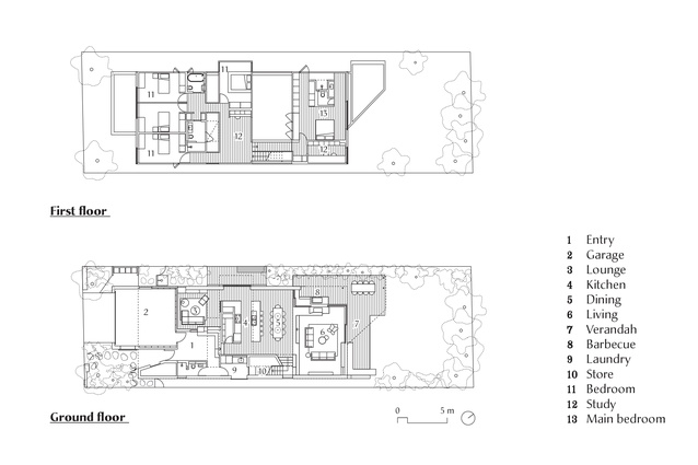Plans of Brick House by Andrew Burges Architects.