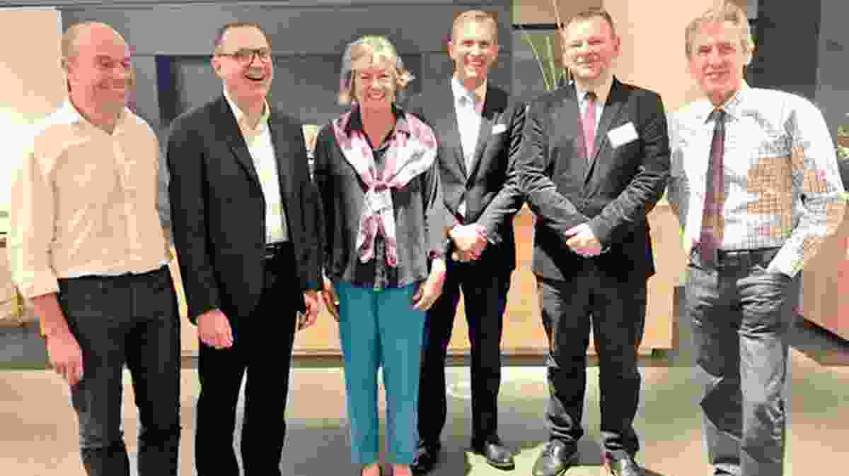Cox Architecture Chair and UNSW Conjoint Professor Philip Graus, Marcus Spiller, Professor Sue Holliday, NSW Planning Minister Rob Stokes, Luca Belgiorno Nettis and Professor Mark Tewdwr-Jones.