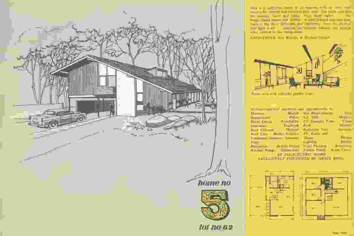 Home No. 5 from the Carlingford Homes Fair brochure, 1961. A split-level home of 12 m by Ken Woolley and Michael Dysart.