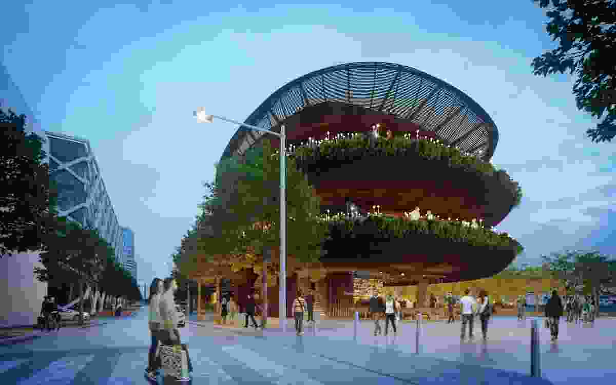 The organic form of the proposed Barangaroo restaurant by Collins and Turner contrasts with the district's orthogonal masterplan.