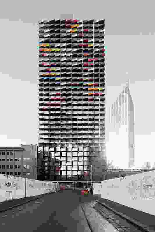 The imagery of A'Beckett Tower is inspired by the census data of the area. The various imagined occupants are represented by 
