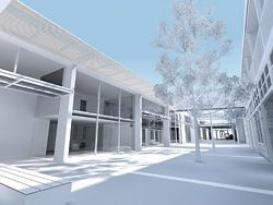 View from the proposed central public secure courtyard looking towards public gallery space. The tilting glazed doors are seen open.