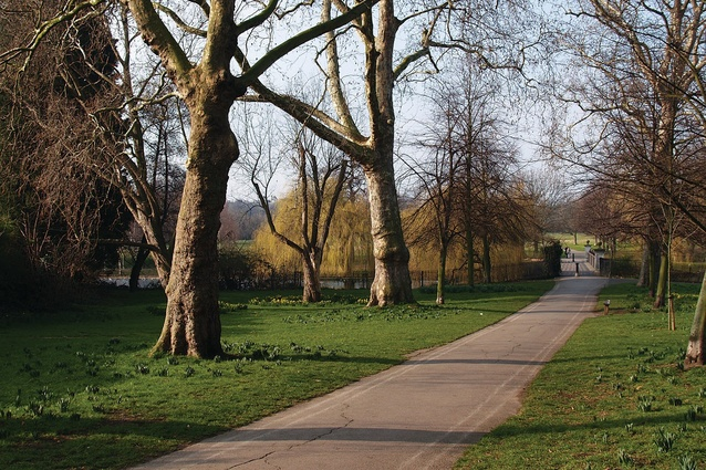 A naturalistic path through a London Park.