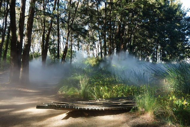 Fujiko Nakaya fog blanket operates 12.30–2pm daily. Robert Stackhouse's <em>On the Beach Again</em> (1984) is positioned at the edge of marsh pond.
