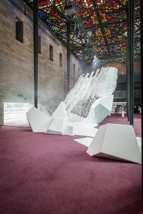 Installation view of <i>Floe</i>, 2017, by Ronald Snooks and Philip Samartzis, which was on display as part of NGV Triennial Extra.