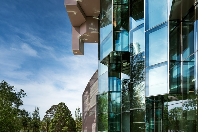 "The west facade of theGeelong Library and Heritage Centre by ARM Architecture is conceived as a ""grotto."""