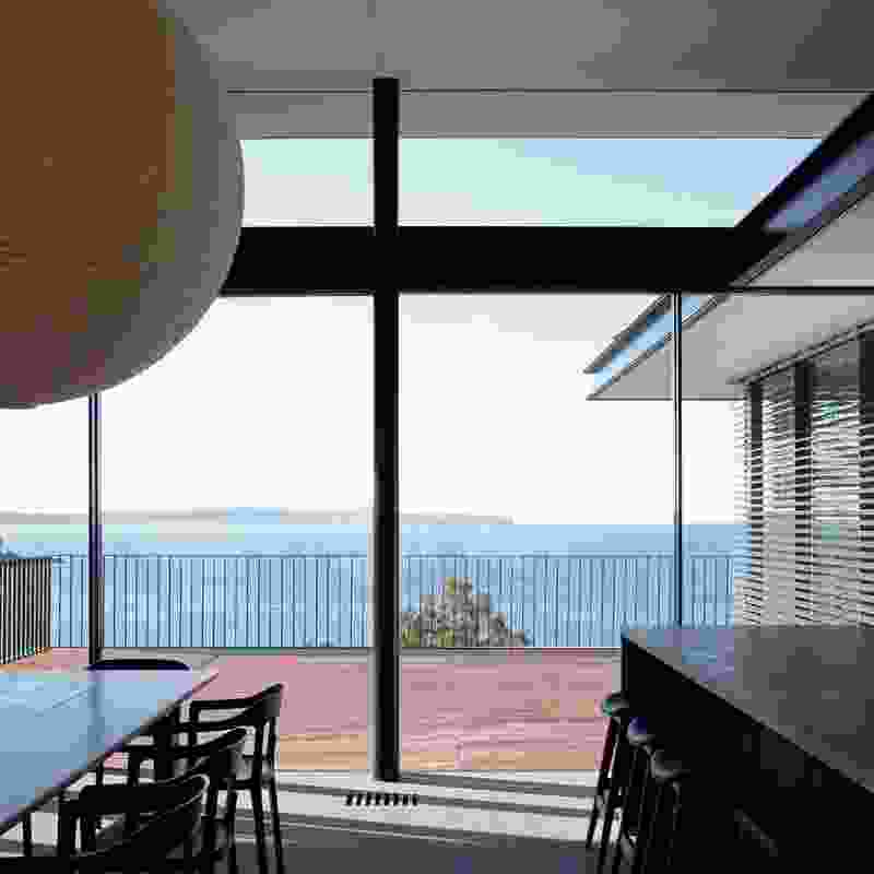 Looking from the kitchen/dining space level out to sea.