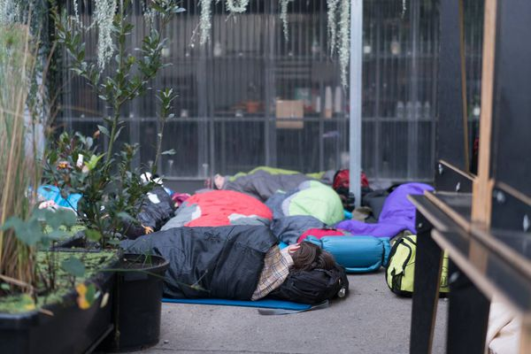 Students bunking down at the 2017 event.