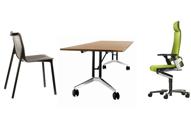 (L–R) The Chassis chair, Confair table and ON chair.