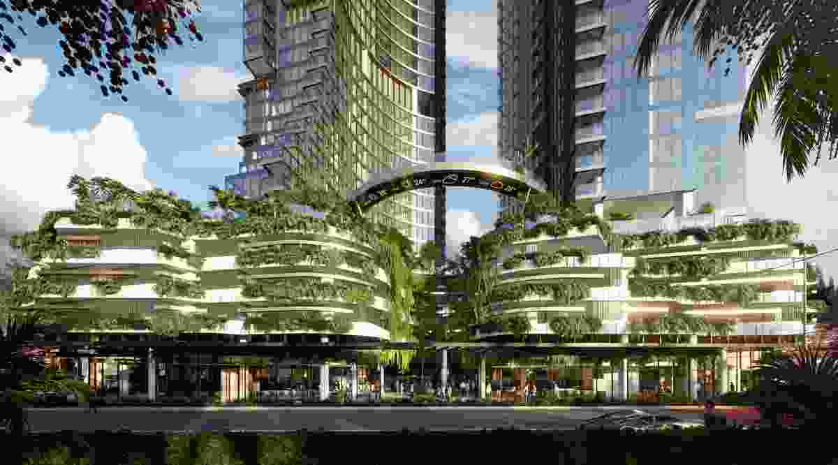 """The proposed Orion towers by Woods Bagot will feature an """"urban canyon"""" at its base."""