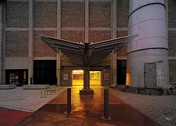 Entry via the Turbine Hall, adjacent to the base of the retained stack.