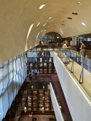 A new vaulted ceiling is a defining feature of the refurbishment of University of Queensland's Forgan Smith building by BVN.