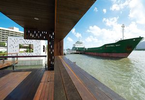 Queensland Maple and Brown Penda decking from the site were recycled into the new built structures.