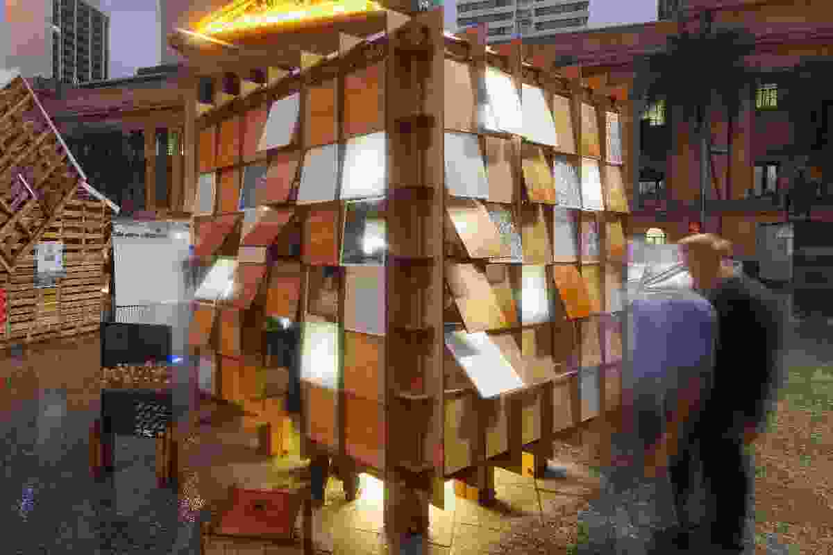 Emergency shelter by Nic Gonsalves and Nic Martoo of Conrad Gargett Riddel, exhibited in Brisbane 2012.