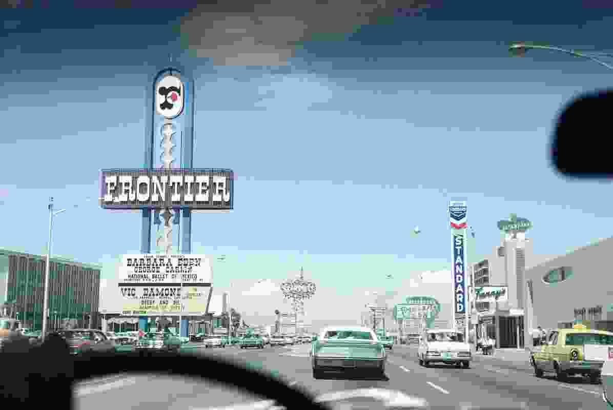 Upper Strip, driving north, Las Vegas, 1968.