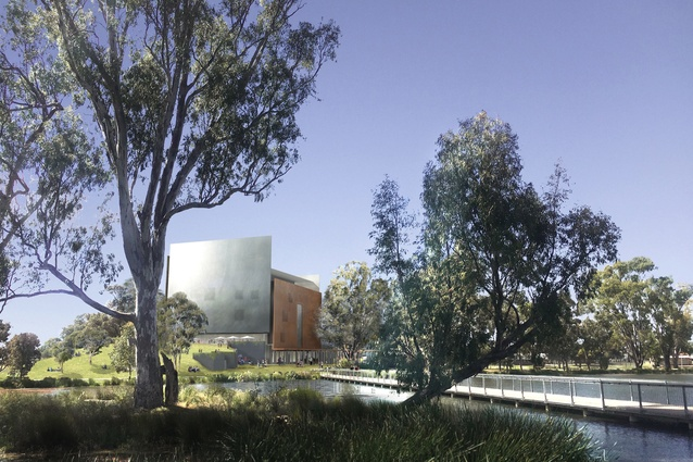 "Denton Corker Marshall's proposal for Shepparton Art Museum is conceived as a ""land sculpture."""