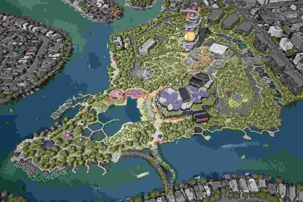 Gold Coast Cultural Precinct scheme by ARM Architecture: north aerial site view.