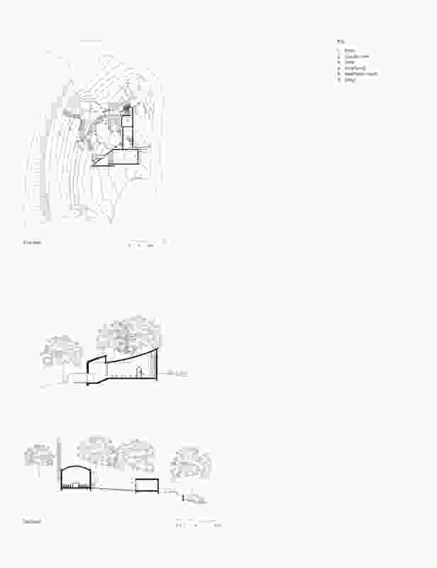 Site plan and sections of Chapel and Meditation Room by Studio Nicholas Burns.