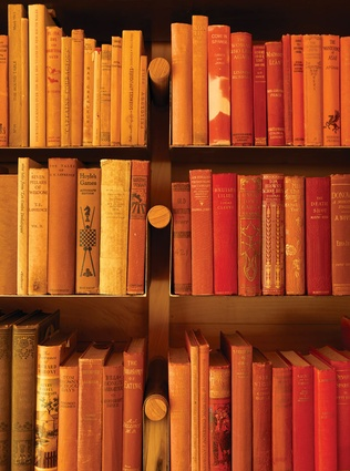 Antiquarian books are ordered by colour above the fireplace.