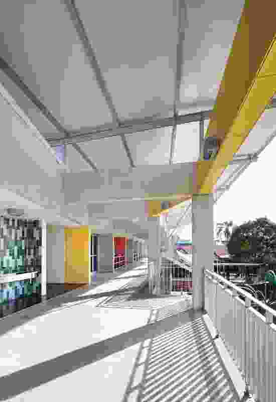 """The precast concrete """"colonnade"""" alongside the classrooms overlooks the central playground."""