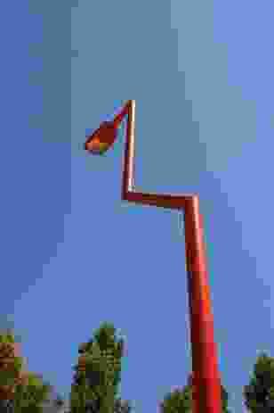 The 'pink flamingo' lights at Flores & Prats' Plaza Nicaragua.