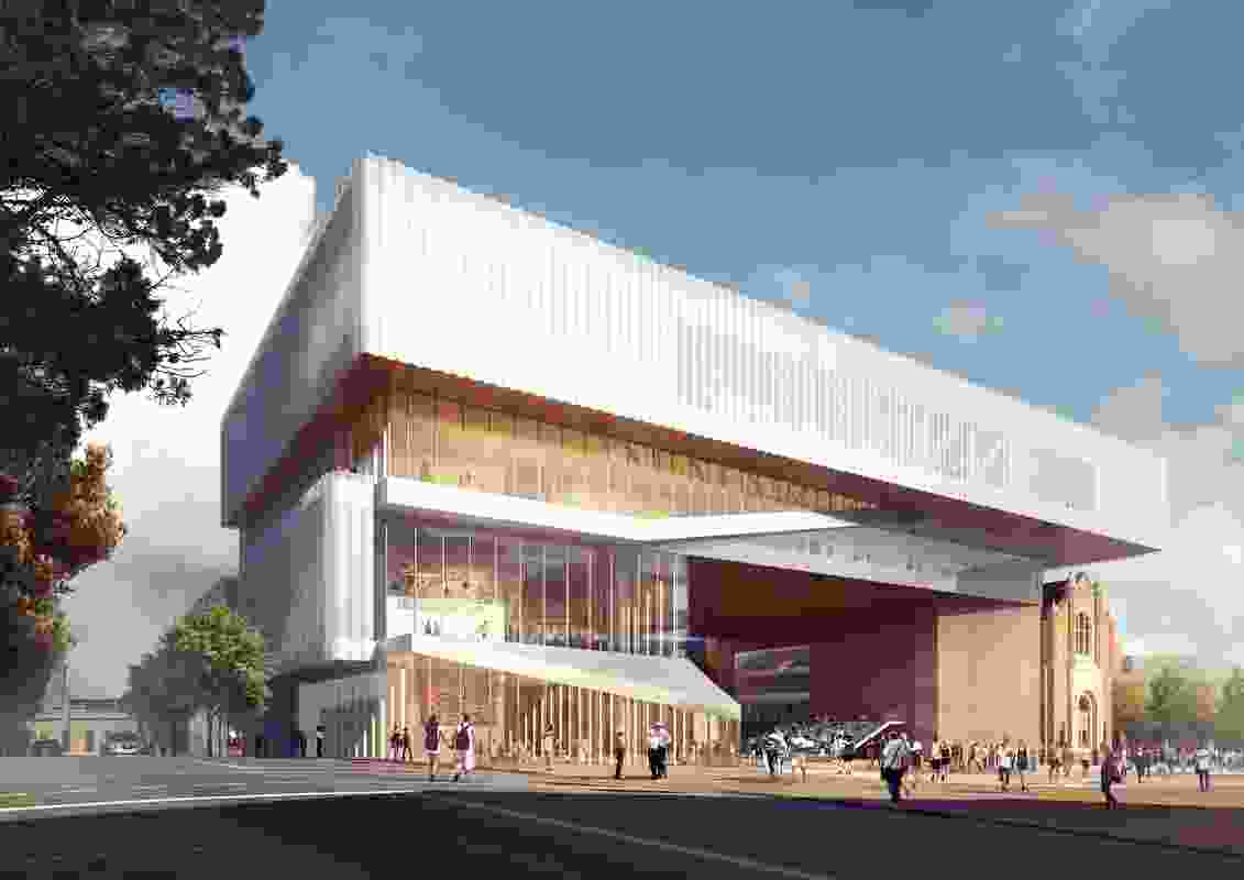 Proposed view from Francis Street of the new WA Museum designed by Hassell and OMA with managing contractor Brookfield Multiplex.