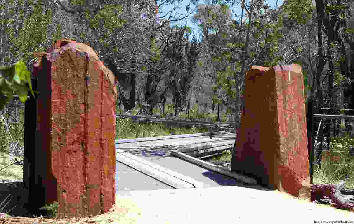 Natural materials include iron boulders from rio tinto's tom price mine to frame walkways and entrances.