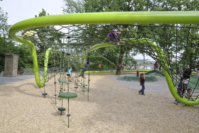 Sculptural playground, Schulberg, designed by ANNABAU Architektur und Landschaft.