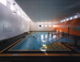 Interior of the hydrotherapy building.