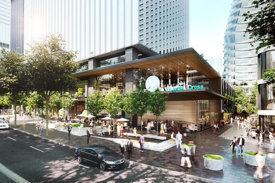 The proposed integrated station development at Victoria Cross includes a 40-storey office tower designed by Bates Smart.