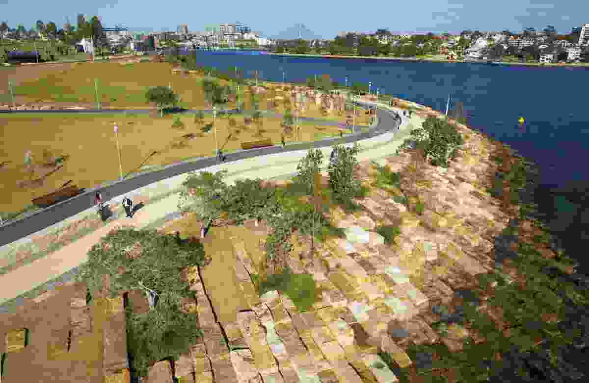 Excavated sandstone blocks are used to re-create the pre-colonial landform of the Barangaroo Reserve site, a former shipyard.