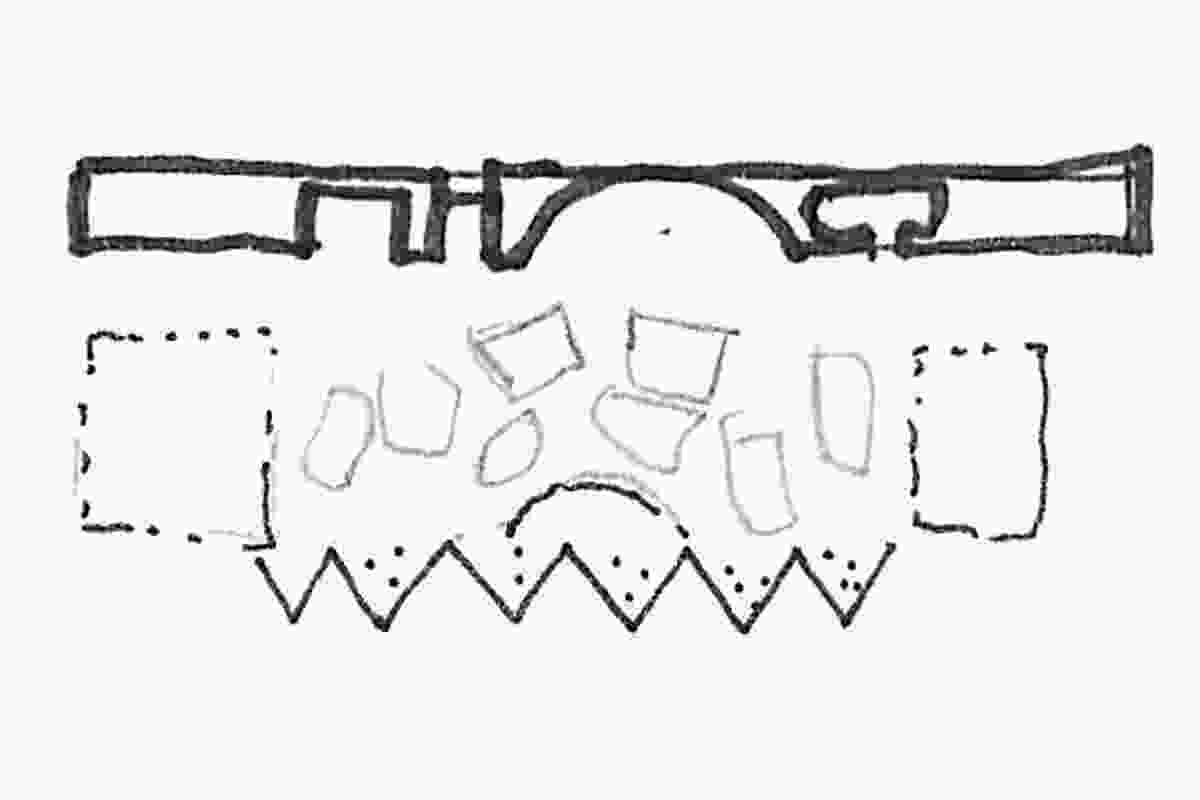 Architect's concept sketch for the plan.
